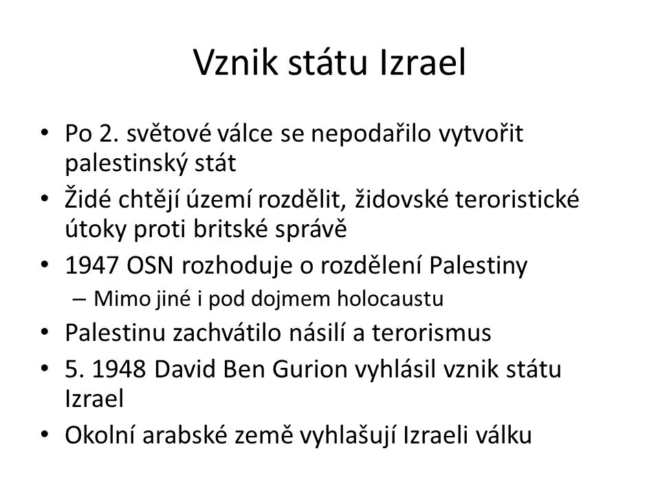 Vznik státu Izrael Po 2.