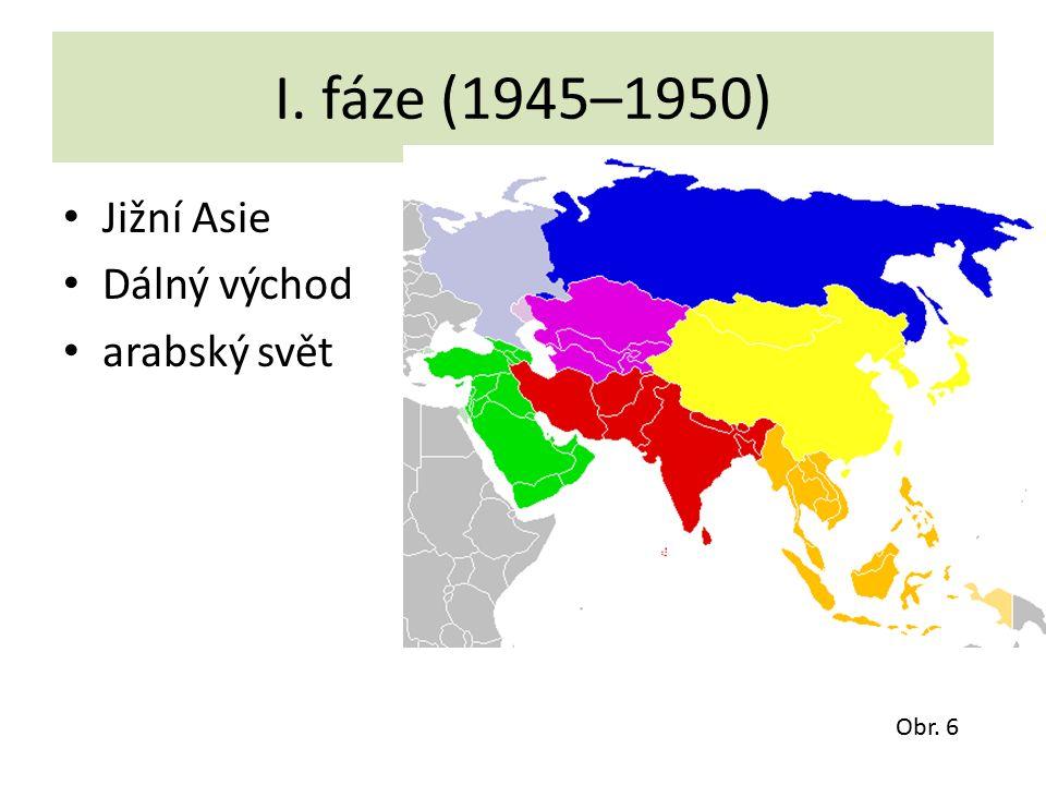 I. fáze (1945–1950) Jižní Asie Dálný východ arabský svět Obr. 6