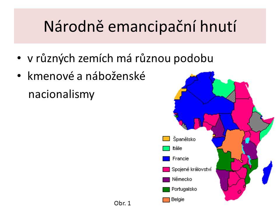 Národně emancipační hnutí v různých zemích má různou podobu kmenové a náboženské nacionalismy Obr.