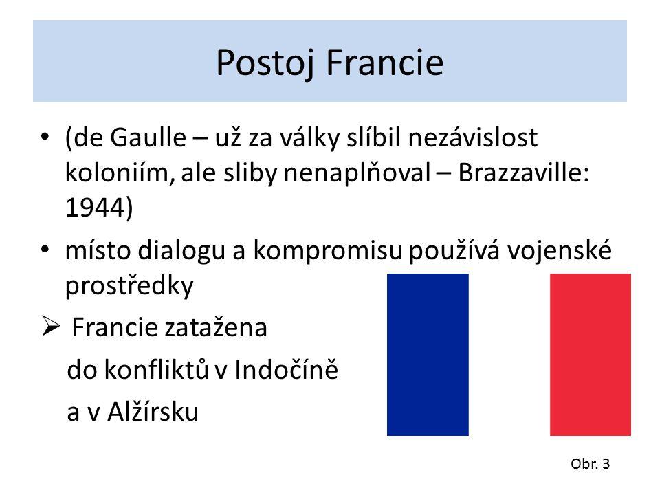 Postoj Francie (de Gaulle – už za války slíbil nezávislost koloniím, ale sliby nenaplňoval – Brazzaville: 1944) místo dialogu a kompromisu používá vojenské prostředky  Francie zatažena do konfliktů v Indočíně a v Alžírsku Obr.