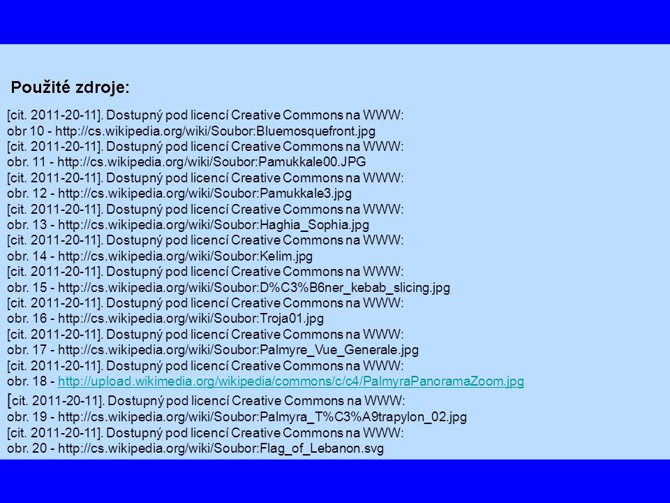 [cit. 2011-20-11]. Dostupný pod licencí Creative Commons na WWW: obr 10 - http://cs.wikipedia.org/wiki/Soubor:Bluemosquefront.jpg [cit. 2011-20-11]. D