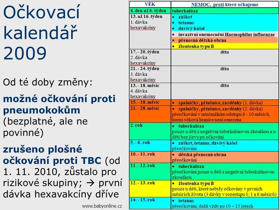 Očkovací kalendář 2009 www.babyonline.cz Od té doby změny: možné očkování proti pneumokokům (bezplatné, ale ne povinné) zrušeno plošné očkování proti TBC (od 1.