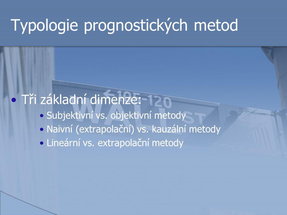 Typologie prognostických metod Tři základní dimenze: Subjektivní vs. objektivní metody Naivní (extrapolační) vs. kauzální metody Lineární vs. extrapol