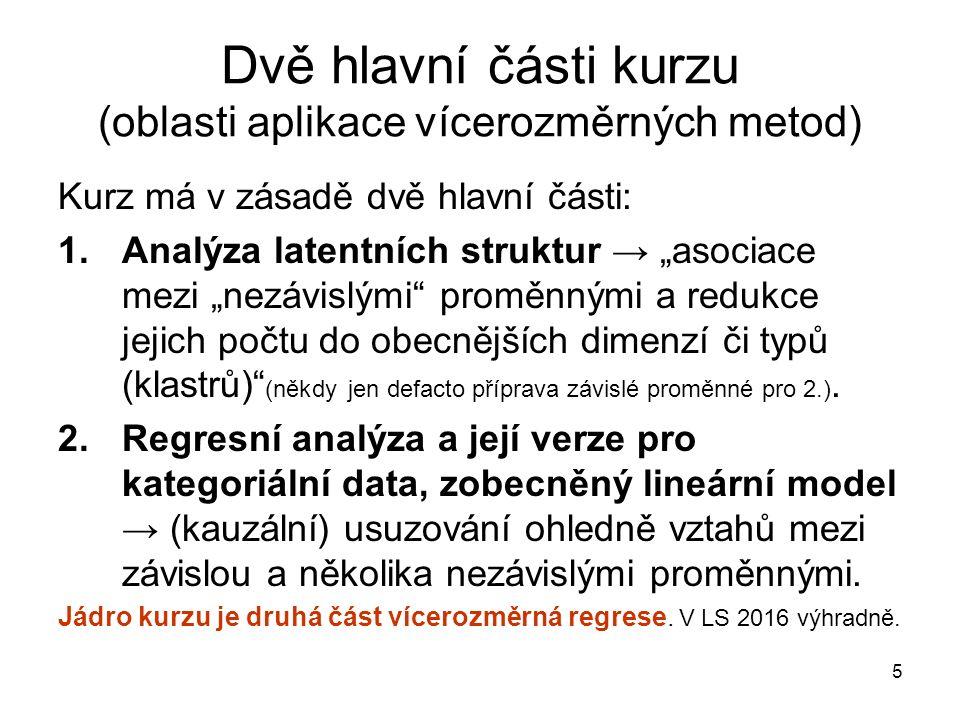 """Dvě hlavní části kurzu (oblasti aplikace vícerozměrných metod) Kurz má v zásadě dvě hlavní části: 1.Analýza latentních struktur → """"asociace mezi """"nezávislými proměnnými a redukce jejich počtu do obecnějších dimenzí či typů (klastrů) (někdy jen defacto příprava závislé proměnné pro 2.)."""