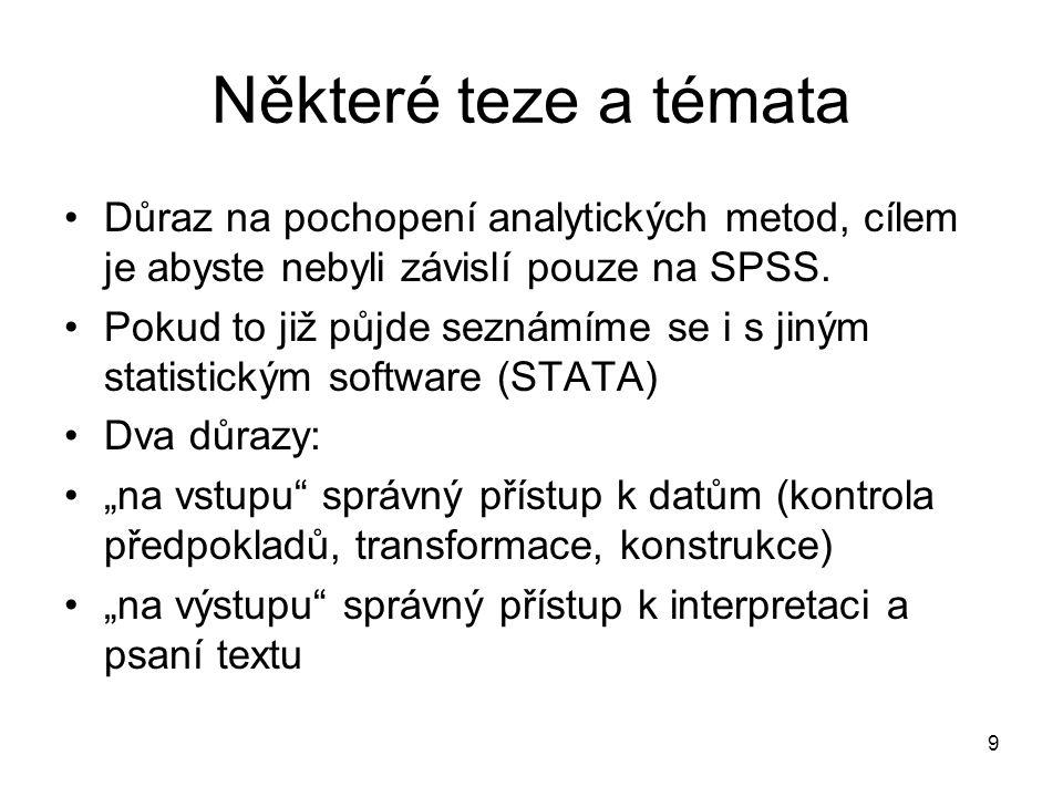 Některé teze a témata Důraz na pochopení analytických metod, cílem je abyste nebyli závislí pouze na SPSS.