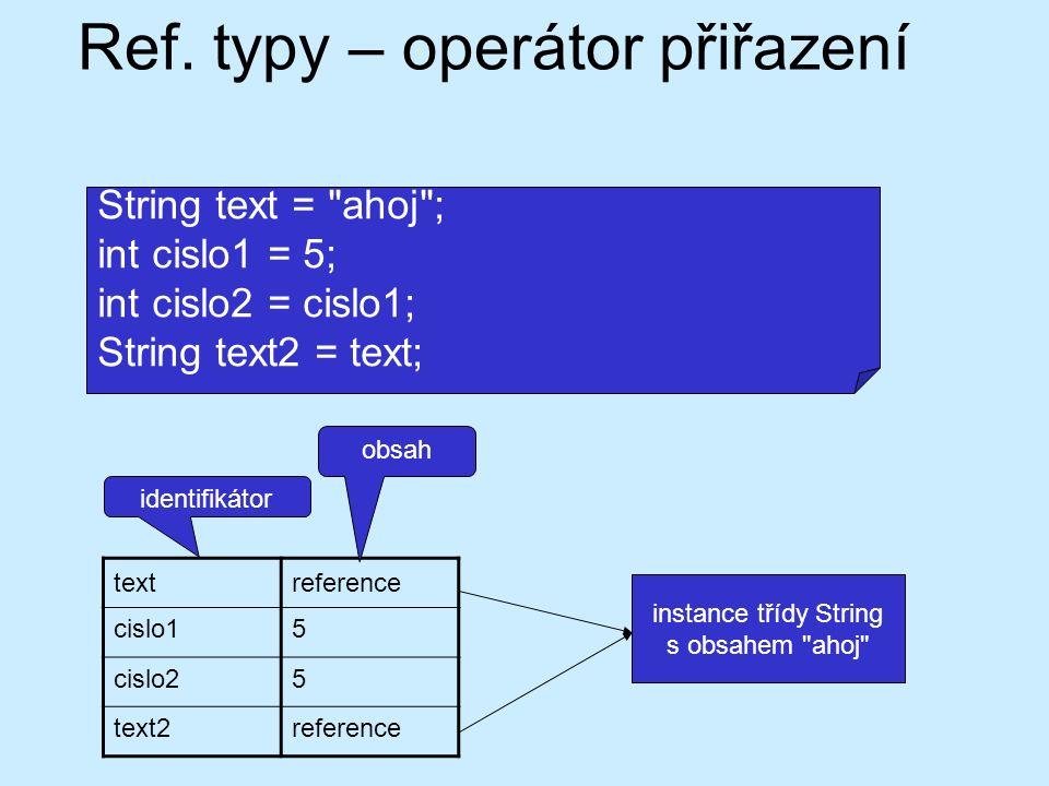 Ref. typy – operátor přiřazení textreference cislo15 cislo25 text2reference instance třídy String s obsahem