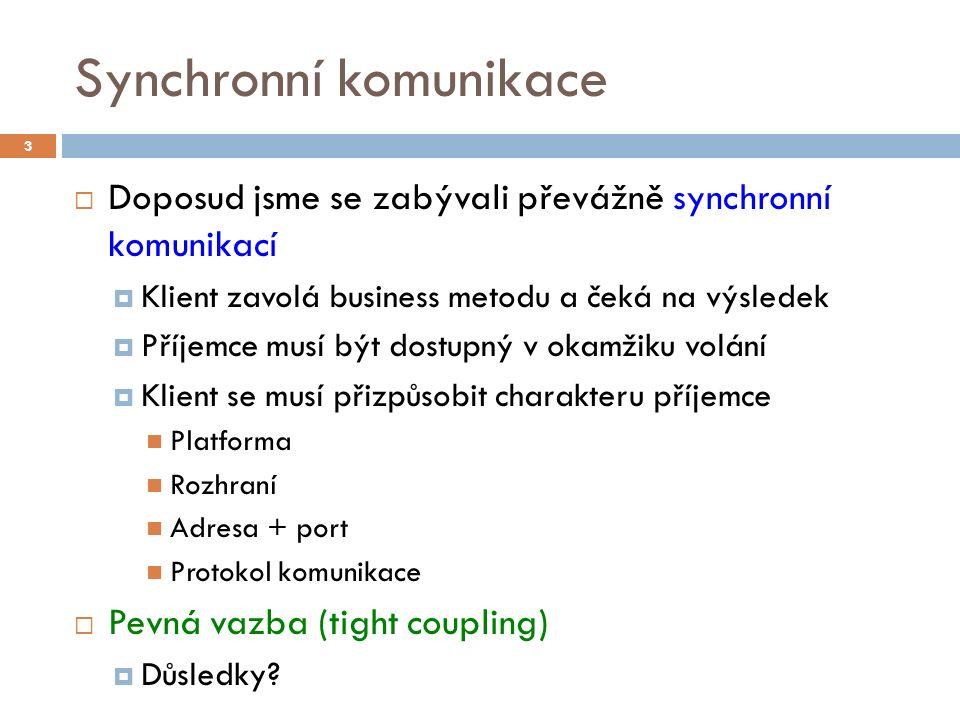 Synchronní komunikace  Doposud jsme se zabývali převážně synchronní komunikací  Klient zavolá business metodu a čeká na výsledek  Příjemce musí být dostupný v okamžiku volání  Klient se musí přizpůsobit charakteru příjemce Platforma Rozhraní Adresa + port Protokol komunikace  Pevná vazba (tight coupling)  Důsledky.