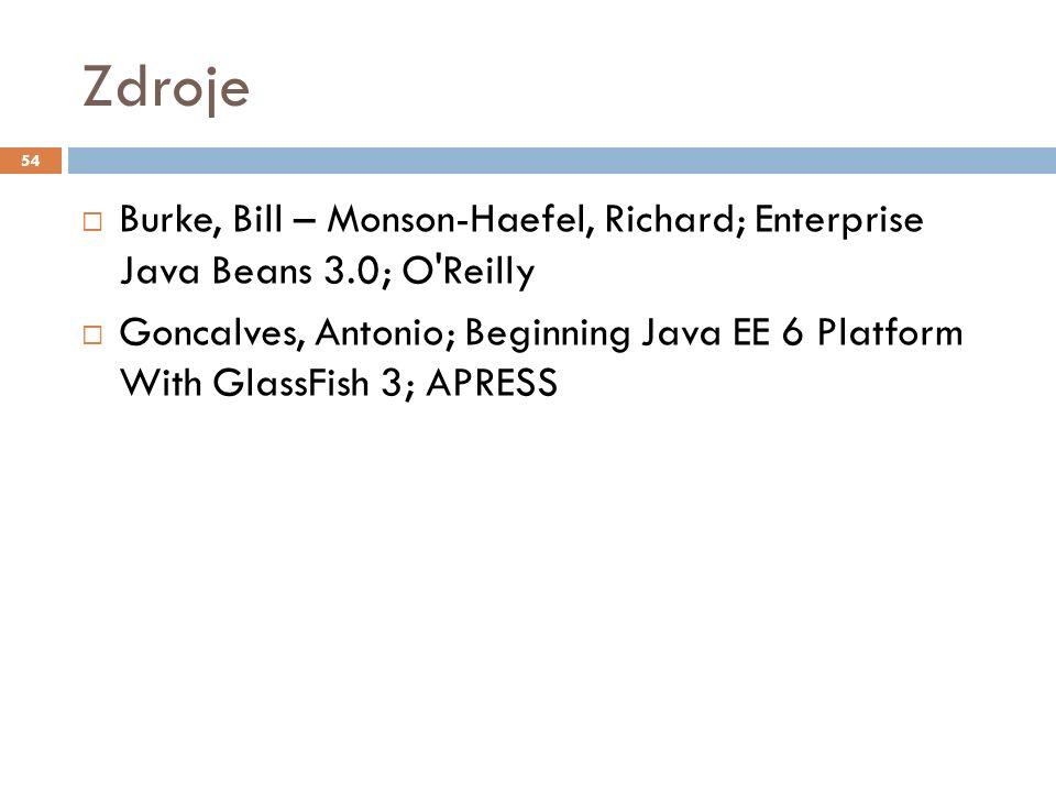 Zdroje  Burke, Bill – Monson-Haefel, Richard; Enterprise Java Beans 3.0; O Reilly  Goncalves, Antonio; Beginning Java EE 6 Platform With GlassFish 3; APRESS 54