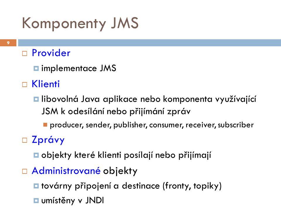 Komponenty JMS  Provider  implementace JMS  Klienti  libovolná Java aplikace nebo komponenta využívající JSM k odesílání nebo přijímání zpráv producer, sender, publisher, consumer, receiver, subscriber  Zprávy  objekty které klienti posílají nebo přijímají  Administrované objekty  továrny připojení a destinace (fronty, topiky)  umístěny v JNDI 9