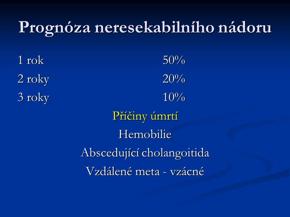 Prognóza neresekabilního nádoru 1 rok50% 2 roky20% 3 roky 10% Příčiny úmrtí Hemobilie Abscedující cholangoitida Vzdálené meta - vzácné