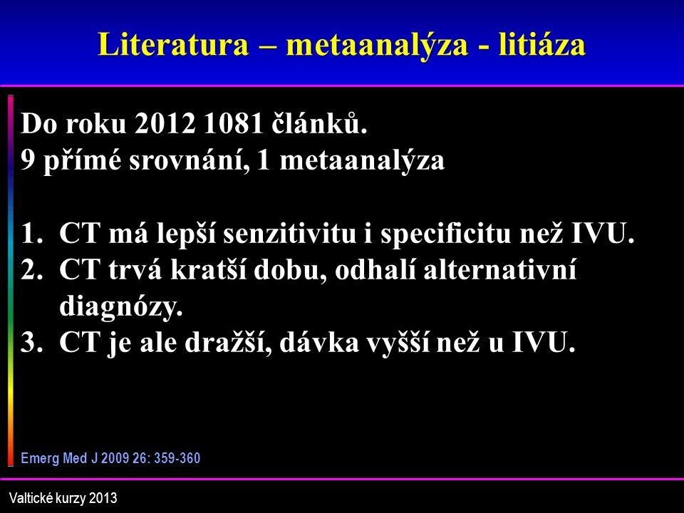 Literatura – metaanalýza - litiáza Valtické kurzy 2013 Do roku 2012 1081 článků.