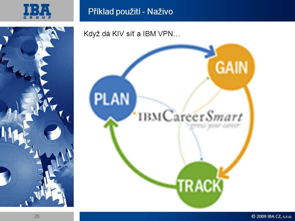Příklad použití - Naživo Když dá KIV síť a IBM VPN… © 2009 IBA CZ, s.r.o. 20