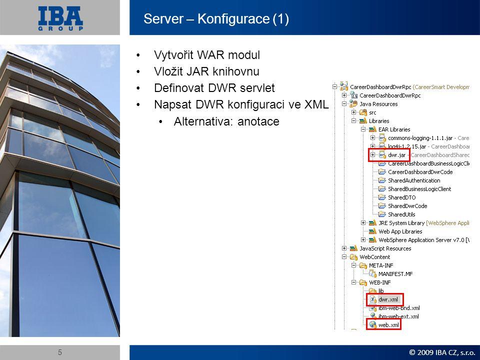 Server – Konfigurace (2) V deskriptoru web.xml definujeme DWR servlet a přiřadíme mu URL v rámci webového modulu.