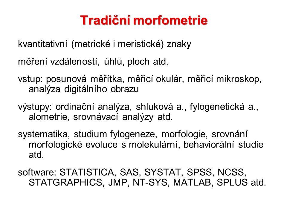 Tradiční morfometrie kvantitativní (metrické i meristické) znaky měření vzdáleností, úhlů, ploch atd. vstup: posunová měřítka, měřicí okulár, měřicí m