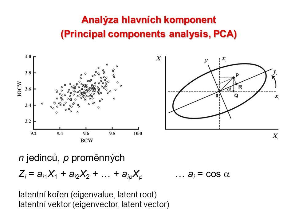 Analýza hlavních komponent (Principal components analysis, PCA) Z i = a i1 X 1 + a i2 X 2 + … + a ip X p … a i = cos  n jedinců, p proměnných latentn