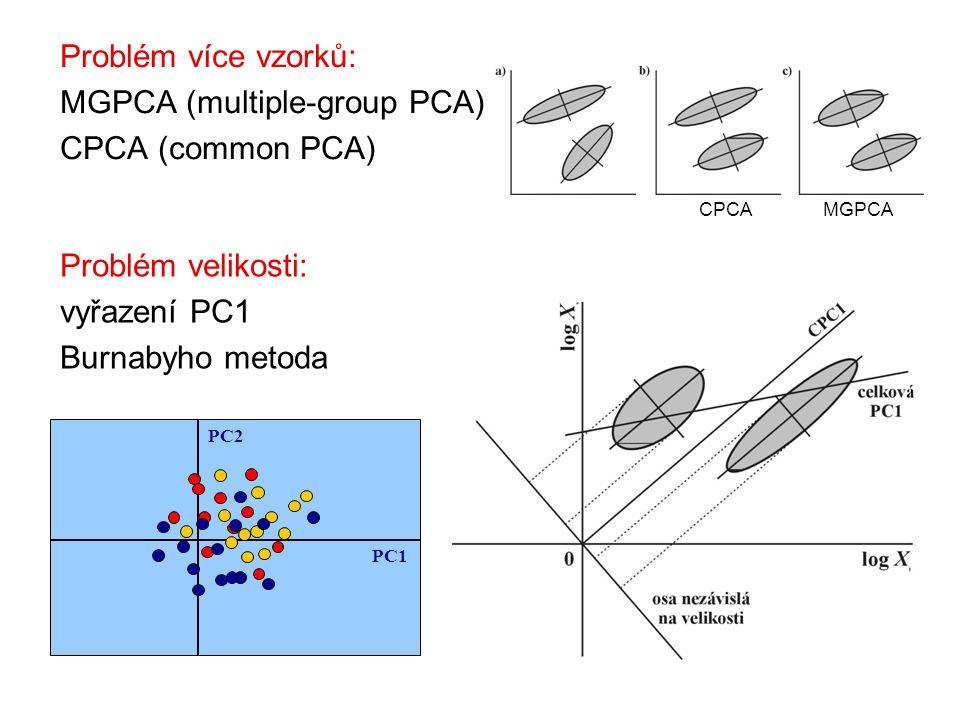 Problém více vzorků: MGPCA (multiple-group PCA) CPCA (common PCA) CPCAMGPCA PC1 PC2 Problém velikosti: vyřazení PC1 Burnabyho metoda