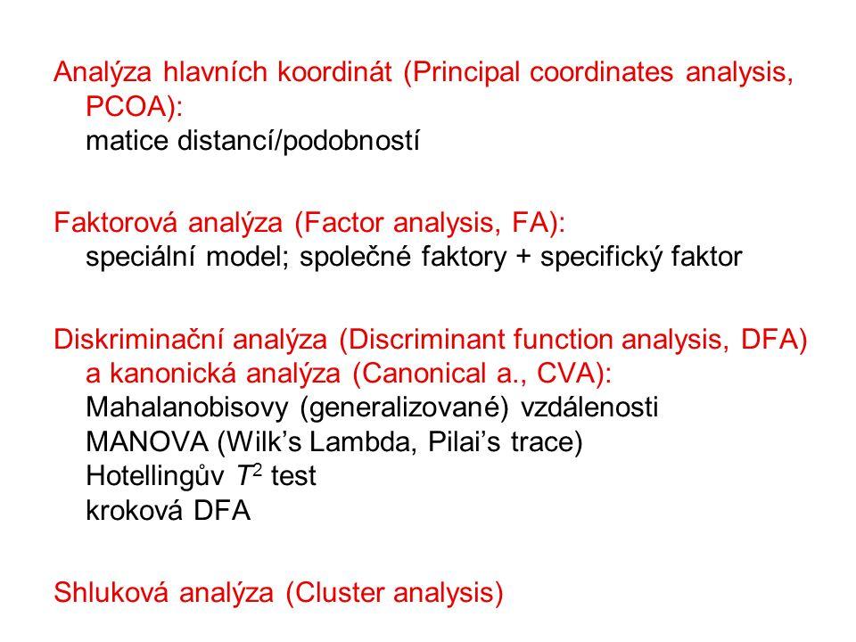Analýza hlavních koordinát (Principal coordinates analysis, PCOA): matice distancí/podobností Faktorová analýza (Factor analysis, FA): speciální model
