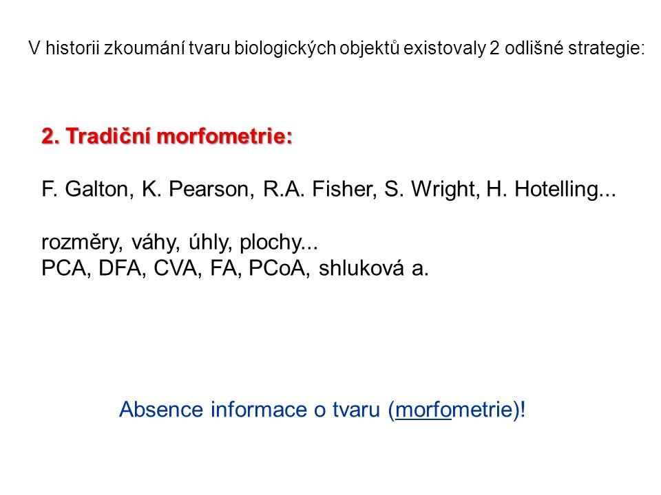 V historii zkoumání tvaru biologických objektů existovaly 2 odlišné strategie: 2. Tradiční morfometrie: F. Galton, K. Pearson, R.A. Fisher, S. Wright,