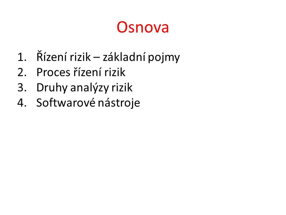 Osnova 1.Řízení rizik – základní pojmy 2.Proces řízení rizik 3.Druhy analýzy rizik 4.Softwarové nástroje