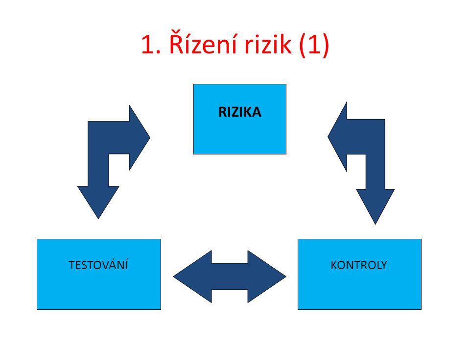 1. Řízení rizik (1) RIZIKA KONTROLYTESTOVÁNÍ