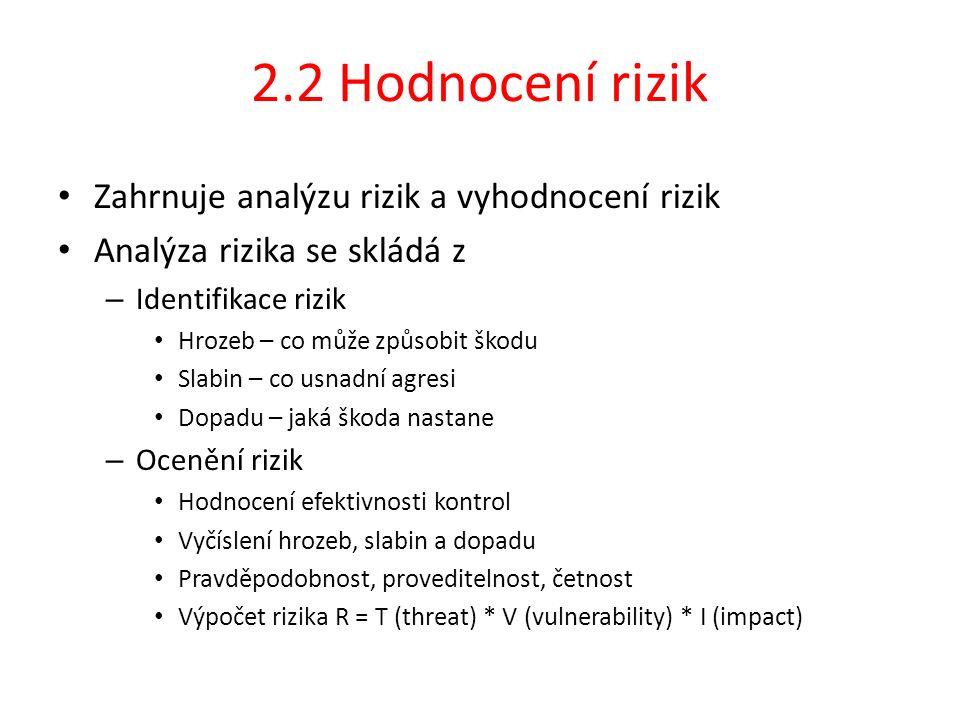 2.2 Hodnocení rizik Zahrnuje analýzu rizik a vyhodnocení rizik Analýza rizika se skládá z – Identifikace rizik Hrozeb – co může způsobit škodu Slabin – co usnadní agresi Dopadu – jaká škoda nastane – Ocenění rizik Hodnocení efektivnosti kontrol Vyčíslení hrozeb, slabin a dopadu Pravděpodobnost, proveditelnost, četnost Výpočet rizika R = T (threat) * V (vulnerability) * I (impact)