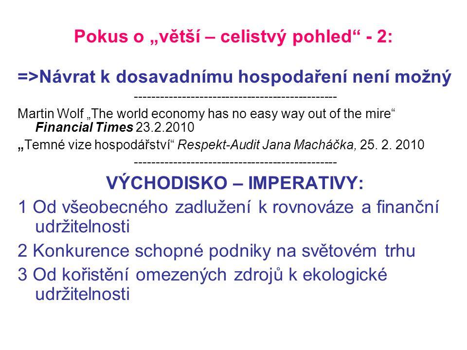 """Pokus o """"větší – celistvý pohled - 2: =>Návrat k dosavadnímu hospodaření není možný ----------------------------------------------- Martin Wolf """"The world economy has no easy way out of the mire Financial Times 23.2.2010 """"Temné vize hospodářství Respekt-Audit Jana Macháčka, 25."""