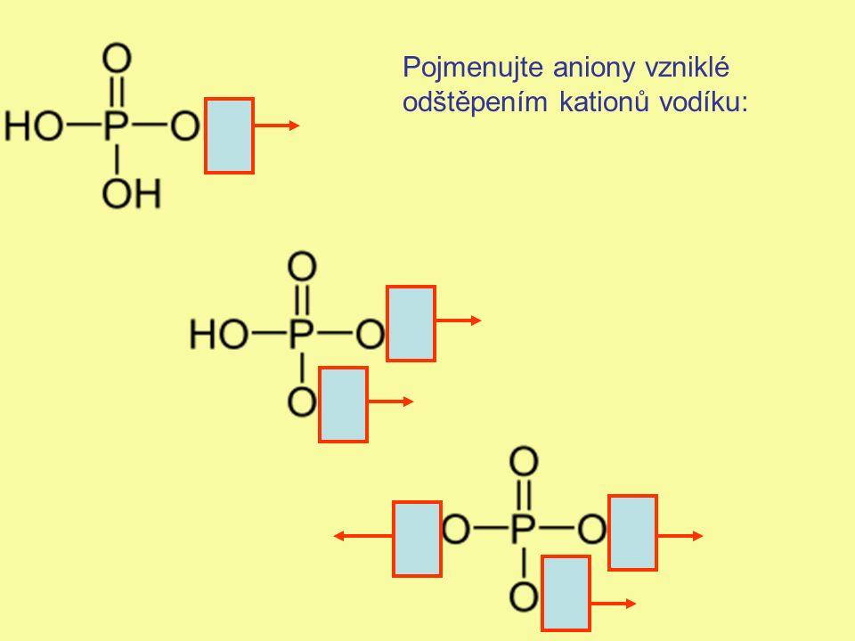 Pojmenujte aniony vzniklé odštěpením kationů vodíku: