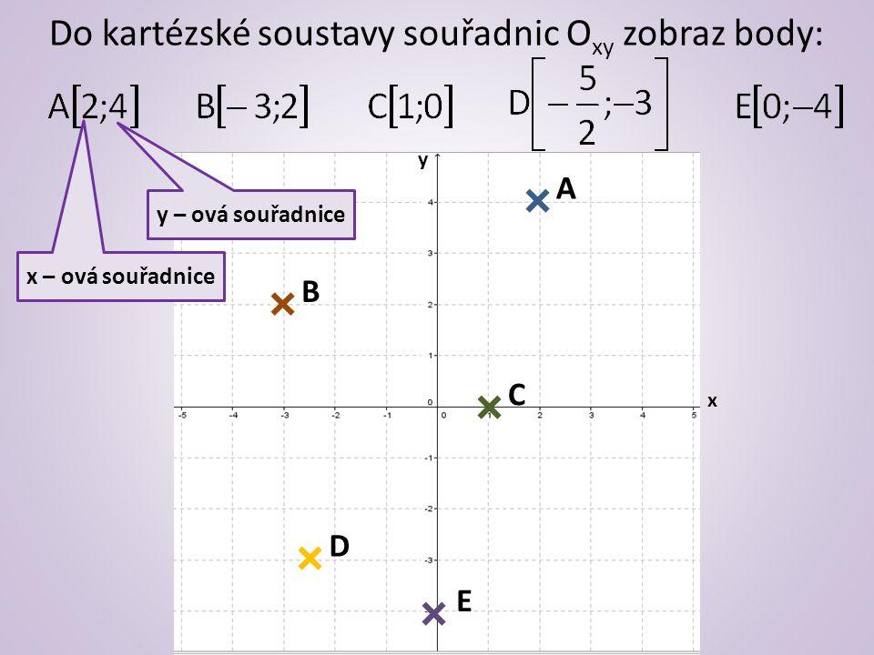 Do kartézské soustavy souřadnic O xy zobraz body: y – ová souřadnice x – ová souřadnice x y A B C D E