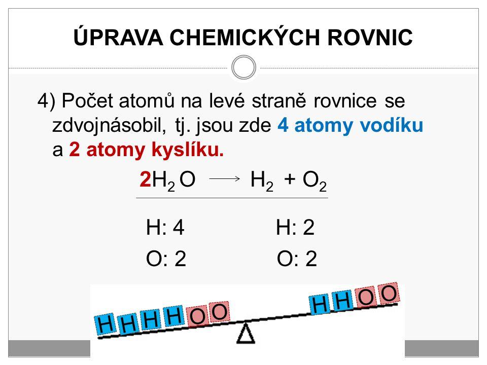 ÚPRAVA CHEMICKÝCH ROVNIC 4) Počet atomů na levé straně rovnice se zdvojnásobil, tj. jsou zde 4 atomy vodíku a 2 atomy kyslíku. H: 4 H: 2 O: 2 O: 2 H H