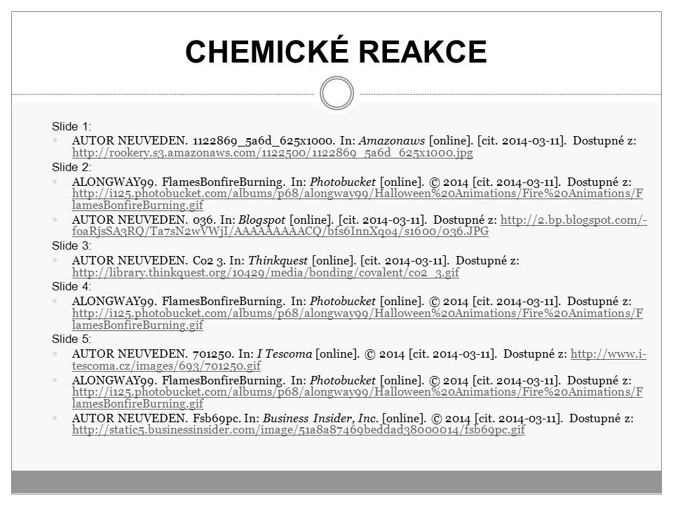 CHEMICKÉ REAKCE Slide 1: AUTOR NEUVEDEN. 1122869_5a6d_625x1000. In: Amazonaws [online]. [cit. 2014-03-11]. Dostupné z: http://rookery.s3.amazonaws.com