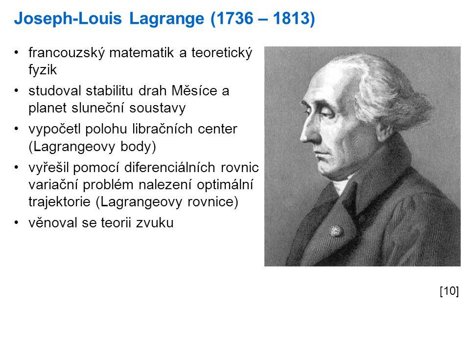 Joseph-Louis Lagrange (1736 – 1813) [10] francouzský matematik a teoretický fyzik studoval stabilitu drah Měsíce a planet sluneční soustavy vypočetl polohu libračních center (Lagrangeovy body) vyřešil pomocí diferenciálních rovnic variační problém nalezení optimální trajektorie (Lagrangeovy rovnice) věnoval se teorii zvuku