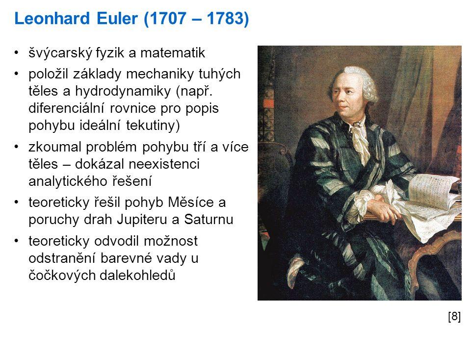Leonhard Euler (1707 – 1783) [8] švýcarský fyzik a matematik položil základy mechaniky tuhých těles a hydrodynamiky (např.