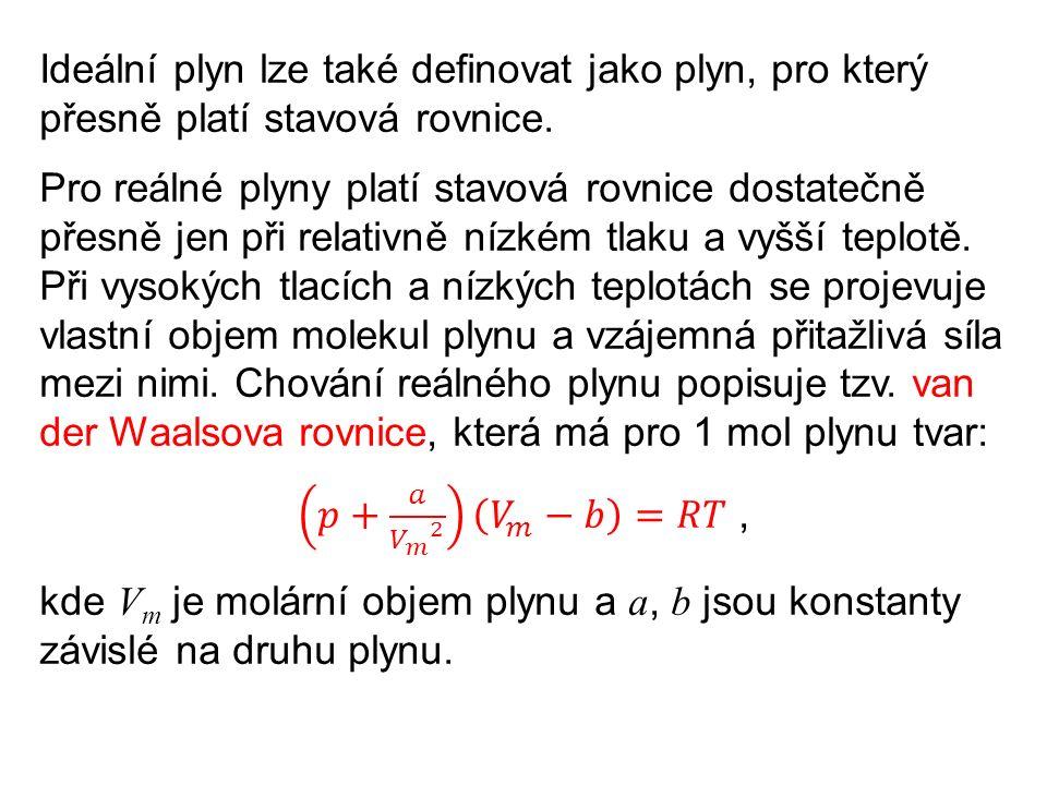 Ze stavové rovnice pro ideální plyn lze také odvodit Avogadrův zákon: Různé ideální plyny o stejném objemu, teplotě a tlaku mají stejný počet částic.