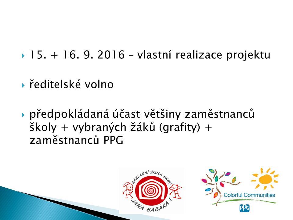  15. + 16. 9. 2016 – vlastní realizace projektu  ředitelské volno  předpokládaná účast většiny zaměstnanců školy + vybraných žáků (grafity) + zaměs