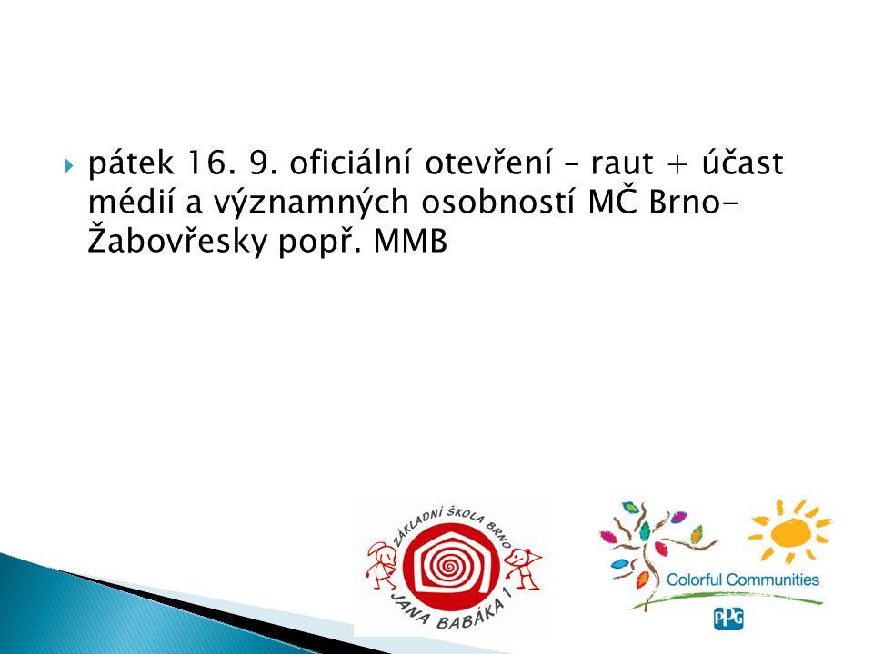  pátek 16. 9. oficiální otevření – raut + účast médií a významných osobností MČ Brno- Žabovřesky popř. MMB