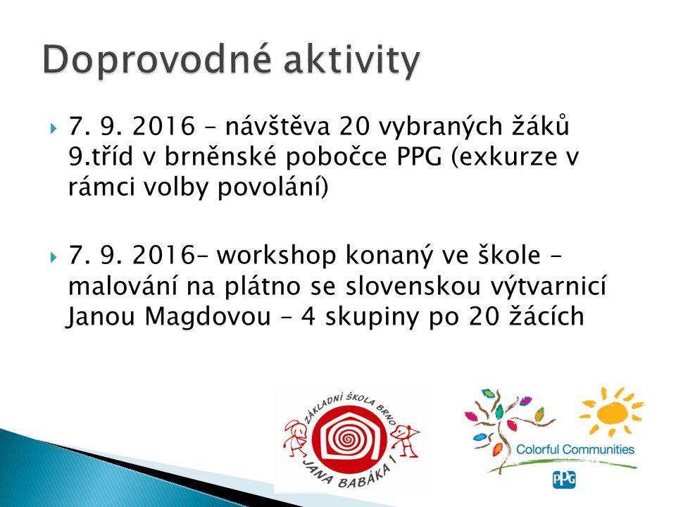  7. 9. 2016 – návštěva 20 vybraných žáků 9.tříd v brněnské pobočce PPG (exkurze v rámci volby povolání)  7. 9. 2016– workshop konaný ve škole – malo