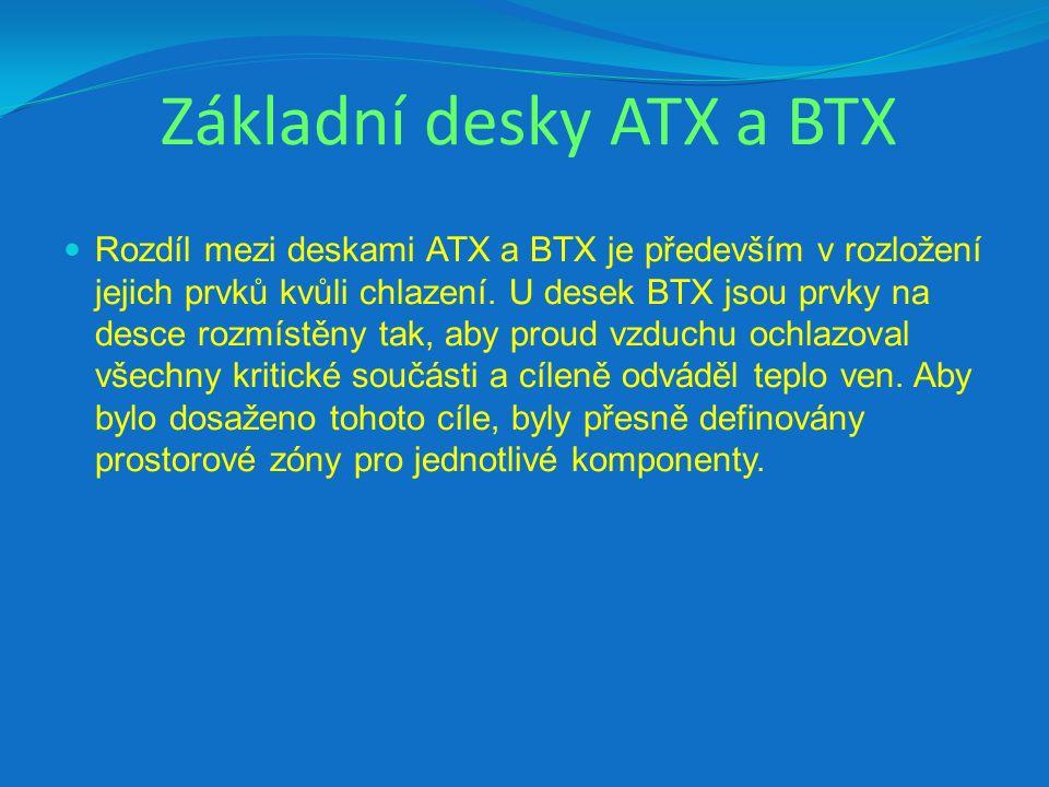 Základní desky ATX a BTX Rozdíl mezi deskami ATX a BTX je především v rozložení jejich prvků kvůli chlazení. U desek BTX jsou prvky na desce rozmístěn