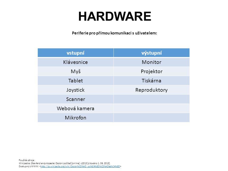 HARDWARE Periferie pro přímou komunikaci s uživatelem: Použité zdroje: Wikipedie: Otevřená encyklopedie: Osobní počítač [online].
