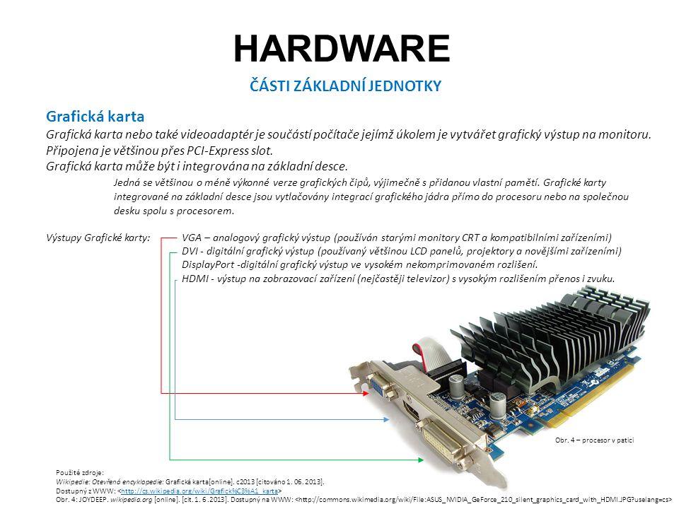 HARDWARE ČÁSTI ZÁKLADNÍ JEDNOTKY Grafická karta Grafická karta nebo také videoadaptér je součástí počítače jejímž úkolem je vytvářet grafický výstup na monitoru.