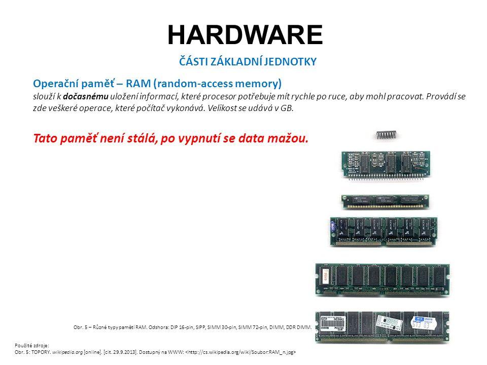 HARDWARE ČÁSTI ZÁKLADNÍ JEDNOTKY Operační paměť – RAM (random-access memory) slouží k dočasnému uložení informací, které procesor potřebuje mít rychle po ruce, aby mohl pracovat.