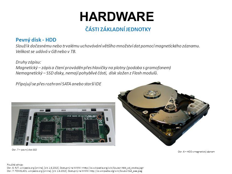 HARDWARE ČÁSTI ZÁKLADNÍ JEDNOTKY Pevný disk - HDD Slouží k dočasnému nebo trvalému uchovávání většího množství dat pomocí magnetického záznamu.