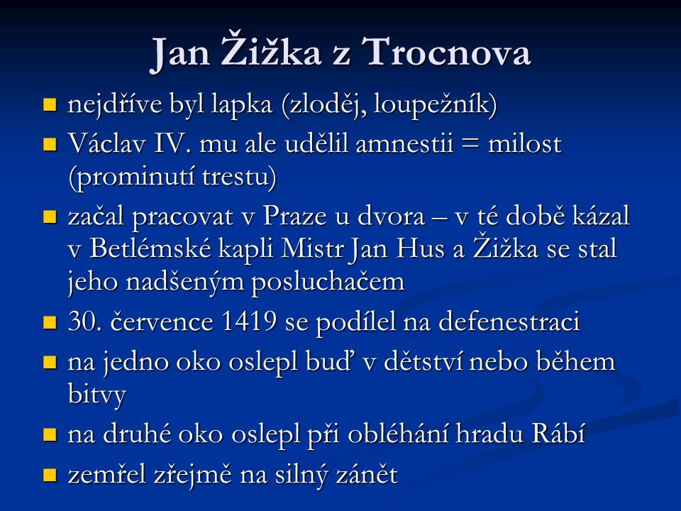 Jan Žižka z Trocnova nejdříve byl lapka (zloděj, loupežník) nejdříve byl lapka (zloděj, loupežník) Václav IV. mu ale udělil amnestii = milost (prominu