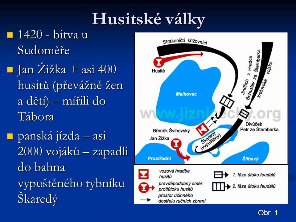 Husitské války 1420 - bitva u Sudoměře 1420 - bitva u Sudoměře Jan Žižka + asi 400 husitů (převážně žen a dětí) – mířili do Tábora Jan Žižka + asi 400 husitů (převážně žen a dětí) – mířili do Tábora panská jízda – asi 2000 vojáků – zapadli do bahna vypuštěného rybníku Škaredý panská jízda – asi 2000 vojáků – zapadli do bahna vypuštěného rybníku Škaredý Obr.