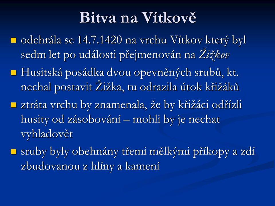 Bitva na Vítkově odehrála se 14.7.1420 na vrchu Vítkov který byl sedm let po události přejmenován na Žižkov odehrála se 14.7.1420 na vrchu Vítkov který byl sedm let po události přejmenován na Žižkov Husitská posádka dvou opevněných srubů, kt.