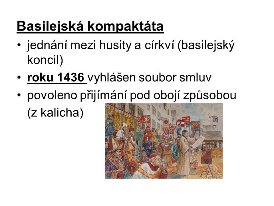 Basilejská kompaktáta jednání mezi husity a církví (basilejský koncil) roku 1436 vyhlášen soubor smluv povoleno přijímání pod obojí způsobou (z kalicha)