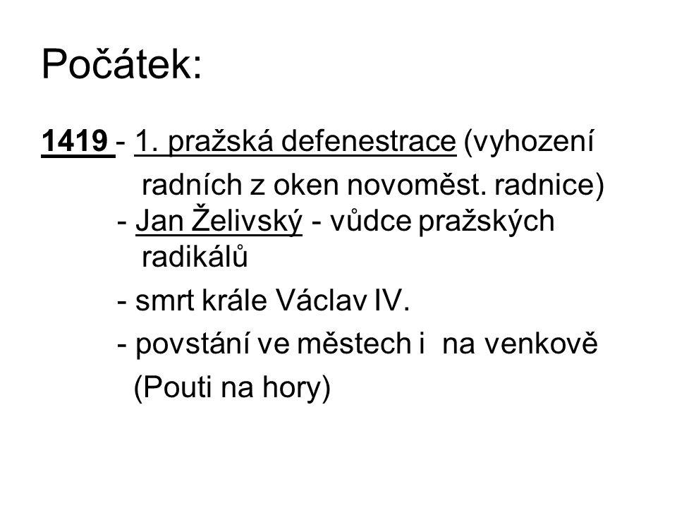 Počátek: 1419 - 1. pražská defenestrace (vyhození radních z oken novoměst.