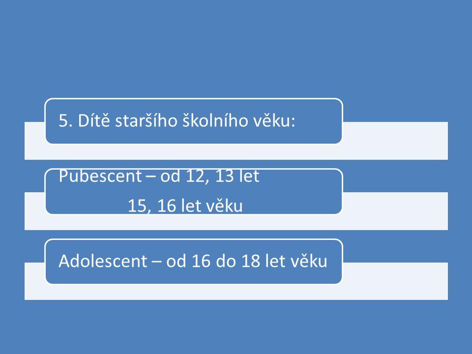 5. Dítě staršího školního věku: Pubescent – od 12, 13 let 15, 16 let věku Adolescent – od 16 do 18 let věku