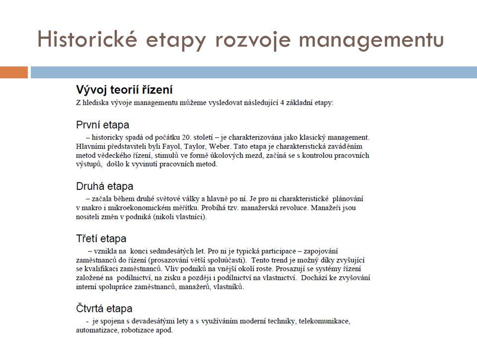 Historické etapy rozvoje managementu