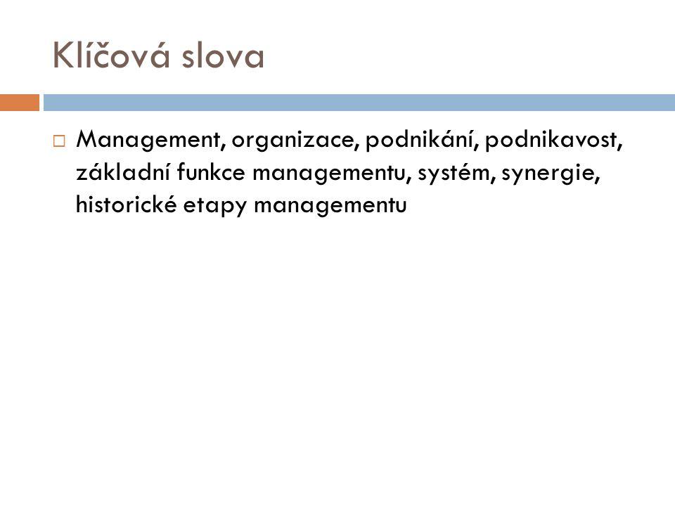 Klíčová slova  Management, organizace, podnikání, podnikavost, základní funkce managementu, systém, synergie, historické etapy managementu