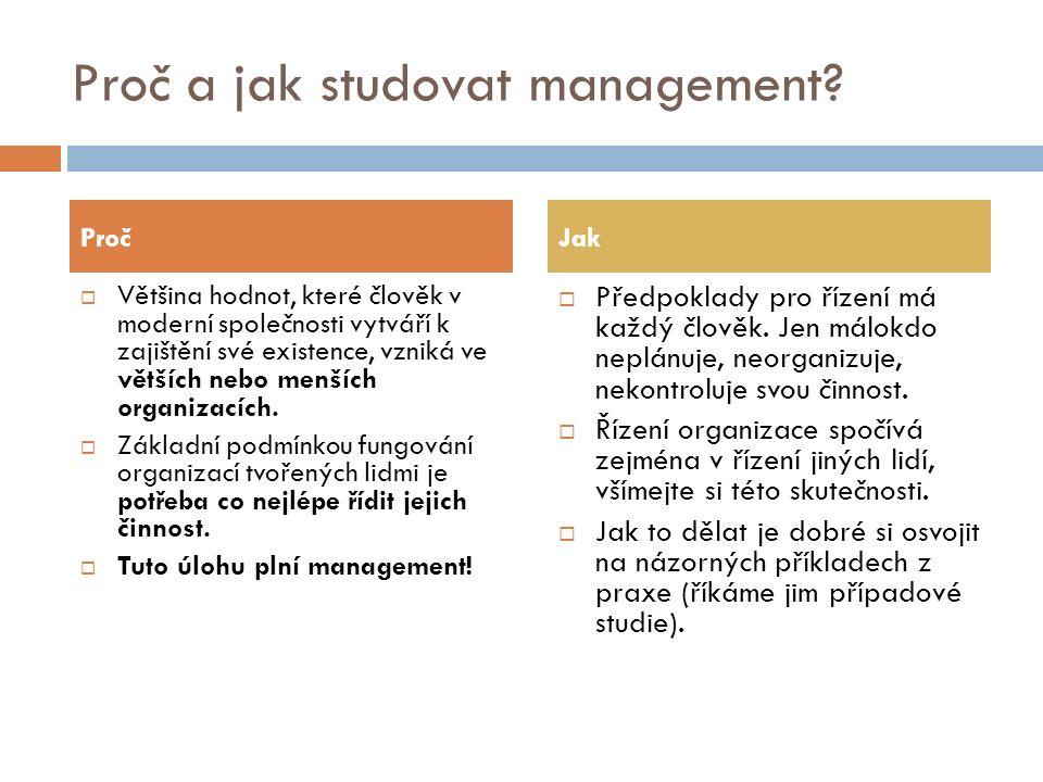 Proč a jak studovat management?  Většina hodnot, které člověk v moderní společnosti vytváří k zajištění své existence, vzniká ve větších nebo menších